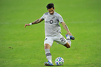 WASHINGTON, DC - NOVEMBER 8: Jorge Corrales #26 of Montreal Impact moves the ball during a game between Montreal Impact and D.C. United at Audi Field on November 8, 2020 in Washington, DC.