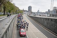 Liège start roll-out<br /> <br /> 107th Liège-Bastogne-Liège 2021 (1.UWT)<br /> 1 day race from Liège to Liège (259km)<br /> <br /> ©kramon
