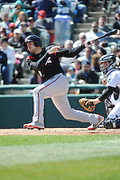 Richmond Flying Squirrels infielder Adam Duvall (8) during game against the Trenton Thunder at ARM & HAMMER Park on April 14 2013 in Trenton, NJ.  Trenton defeated Richmond 15-1.  (Tomasso DeRosa/Four Seam Images)
