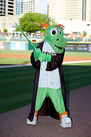 """Charlotte Knights mascot """"Homer the Dragon"""" is dressed in his Jedi robe for Star Wars Night prior to the game against the Rochester Red Wings at BB&T BallPark on May 14, 2019 in Charlotte, North Carolina. The Knights defeated the Red Wings 13-7. (Brian Westerholt/Four Seam Images)"""
