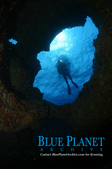 scuba diver in underwater lava cave, Midway atoll, Papahanaumokuakea Marine National Monument, Northwestern Hawaiian Islands, Hawaii, USA, Pacific Ocean