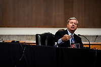 United States Senator Lindsey Graham (Republican of South  Carolina), Chairman, US Senate Judiciary Committee speaks during a US Senate Judiciary Committee business meeting to consider authorization for subpoenas relating to the Crossfire Hurricane investigation and other matters on Capitol Hill in Washington, DC on June 11, 2020. <br /> Credit: Erin Schaff / Pool via CNP/AdMedia