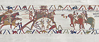 Bayeux Tapestry scene 20: Conan Duke of Britany surrender Dinan, city keys on end of his lance, to Duke William. BYX20