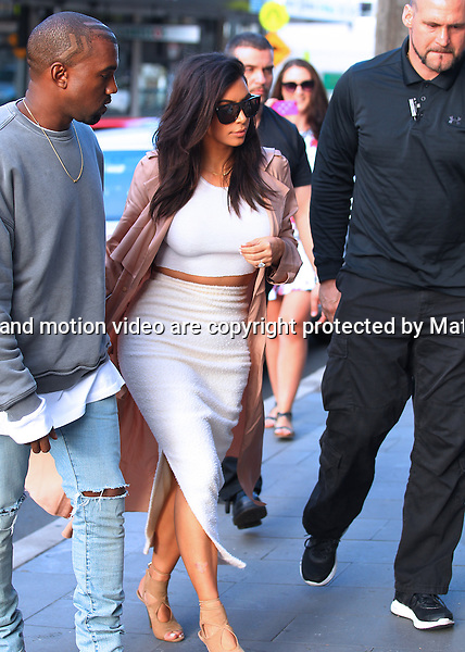 14 SEPTEMBER 2014 SYDNEY AUSTRALIA<br /> <br /> NON EXCLUSIVE <br /> <br /> Kim Kardashian pictured with her husband Kanye West enjoying an outing in Sydney together. The couple started out with a light lunch at Mister Wong's then stopped into Hermes in Sydney CBD, then Josh Goot at Paddington and Assin.<br /> <br />  *No internet without clearance*.<br /> MUST CALL PRIOR TO USE <br /> +61 2 9211-1088. <br /> <br /> Matrix Media Group.Note: All editorial images subject to the following: For editorial use only. Additional clearance required for commercial, wireless, internet or promotional use.Images may not be altered or modified. Matrix Media Group makes no representations or warranties regarding names, trademarks or logos appearing in the images.