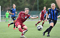 Lorene Martin of Racing Genk pictured passing in front of Brugge's Elle Decorte during a female soccer game between Club Brugge Dames YLA and Racing Genk Ladies on the second matchday of the 2020 - 2021 season of Belgian Scooore Women s SuperLeague , saturday 5 th of September 2020  in Brugge , Belgium . PHOTO SPORTPIX.BE   SPP   DAVID CATRY