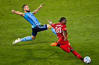 HARRISON, NJ - SEPTEMBER 23: HARRISON, NJ - Wednesday, September 23, 2020: Maxime Chanot, Ayo Akinola during a game between New York City FC and Toronto FC on September 23, 2020 at Red Bull Arena in Harrison, New Jersey during a game between Toronto FC and New York City FC at Red Bull Arena on September 23, 2020 in Harrison, New Jersey.