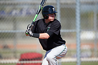 Plymouth State Panthers Josh Goulet (13) at bat during the first game of a doubleheader against the Edgewood Eagles on March 17, 2016 at Lee County Player Development Complex in Fort Myers, Florida.  Plymouth State defeated Edgewood 6-5.  (Mike Janes/Four Seam Images)