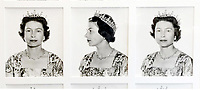 BNPS.co.uk (01202 558833)<br /> Pic: WilliamGeorge&Co/BNPS<br /> <br /> A set of nine original portrait photos of the Queen which were used for a bank note have emerged for sale for £3,000.<br /> <br /> Each photo shows Elizabeth II posed from left to right wearing a diamond tiara with matching earrings and necklace.<br /> <br /> The portraits, taken by court photographer Anthony Buckley in 1963, were adopted in the design of the Canadian currency.<br /> <br /> He took a range of photos of the monarch at different angles to get the best chance of one being approved.