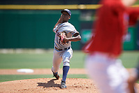 Lakeland Flying Tigers starting pitcher Anthony Castro (15) delivers a pitch during a game against the Clearwater Threshers on May 2, 2018 at Spectrum Field in Clearwater, Florida.  Clearwater defeated Lakeland 7-5.  (Mike Janes/Four Seam Images)