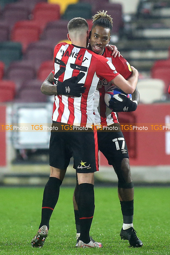 Vitaly Janelt and Ivan Toney celebrate Brentford's 7-2 victory at the final whistle during Brentford vs Wycombe Wanderers, Sky Bet EFL Championship Football at the Brentford Community Stadium on 30th January 2021