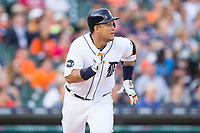 Miguel Cabrera (24) of the Detroit Tigers hustles down the first base line against the Chicago White Sox at Comerica Park on June 2, 2017 in Detroit, Michigan.  The Tigers defeated the White Sox 15-5.  (Brian Westerholt/Four Seam Images)