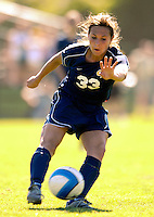 2 September 2007: George Washington University Colonials' Kristen Slack, a Freshman from Northville, MI, in action against the University of Vermont Catamounts at Historic Centennial Field in Burlington, Vermont. The Colonials rallied to defeat the Catamounts 2-1 in overtime during the TD Banknorth Soccer Classic...Mandatory Photo Credit: Ed Wolfstein Photo