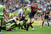 Jackson Wray of Saracens breaks free of Luther Burrell of Northampton Saints during the Aviva Premiership Final between Saracens and Northampton Saints at Twickenham Stadium on Saturday 31st May 2014 (Photo by Rob Munro)