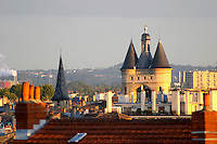 The Grosse Cloche (Great Bell) belfry part of the old city wall in Bordeaux at sunset, view over the rooftops