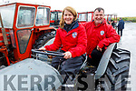 Julie Baker and George Marshall ready for road for the Abbeydorney Vintage Tractor and Car run in Abbeydorney on Saturday.