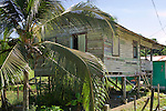 House in Old Bank that demonstrates the classic Caribbean architecture of the region, Isla Bastimentos, Bocas del Toro, Panama