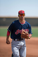 Cleveland Indians shortstop Tyler Freeman (7) jogs off the field between innings of an Extended Spring Training game against the Arizona Diamondbacks at the Cleveland Indians Training Complex on May 27, 2018 in Goodyear, Arizona. (Zachary Lucy/Four Seam Images)
