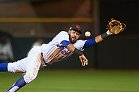 Scottsdale Scorpions second baseman Luis Guillorme (13), of the New York Mets organization, makes a diving attempt during an Arizona Fall League game against the Mesa Solar Sox on October 23, 2017 at Scottsdale Stadium in Scottsdale, Arizona. The Solar Sox defeated the Scorpions 5-2. (Zachary Lucy/Four Seam Images)