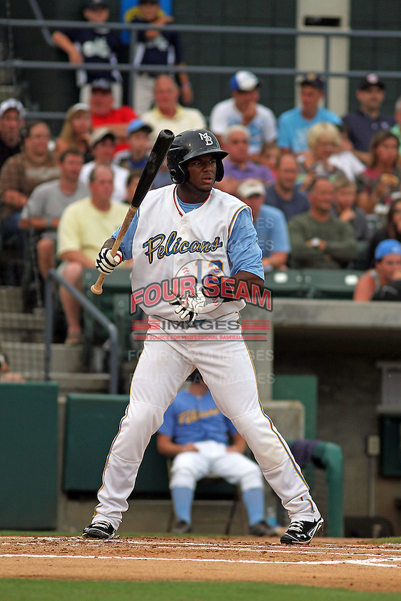 Myrtle Beach Pelicans shortstop Hanser Alberto #12 at bat during a game against the Winston-Salem Dash at Ticketreturn.com Field at Pelicans Park on July 11, 2012 in Myrtle Beach, South Carolina. Myrtle Beach defeated Winston-Salem by the score of 7-1. (Robert Gurganus/Four Seam Images)