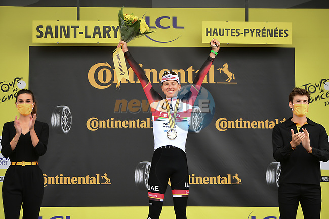 Race leader Tadej Pogacar (SLO) UAE Team Emirates wins Stage 17 of the 2021 Tour de France, running 178.4km from Muret to Saint-Lary-Soulan Col du Portet, France. 14th July 2021.  <br /> Picture: A.S.O./Pauline Ballet | Cyclefile<br /> <br /> All photos usage must carry mandatory copyright credit (© Cyclefile | A.S.O./Pauline Ballet)