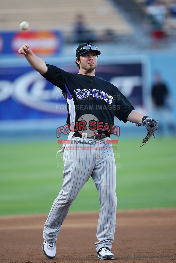 Ian Stewart of the Colorado Rockies during batting practice before a game against the Los Angeles Dodgers in a 2007 MLB season game at Dodger Stadium in Los Angeles, California. (Larry Goren/Four Seam Images)