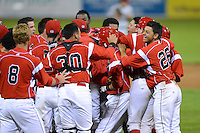 Batavia Muckdogs first baseman Carlos Lopez (hidden) is mobbed by teammates after a walk off hit during a game against the Mahoning Valley Scrappers on June 21, 2013 at Dwyer Stadium in Batavia, New York.  Batavia defeated Mahoning Valley 3-2.  (Mike Janes/Four Seam Images)