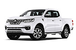 Stock pictures of low aggressive front three quarter view of a 2018 Renault Alaskan Foraker 4 Door Pick Up