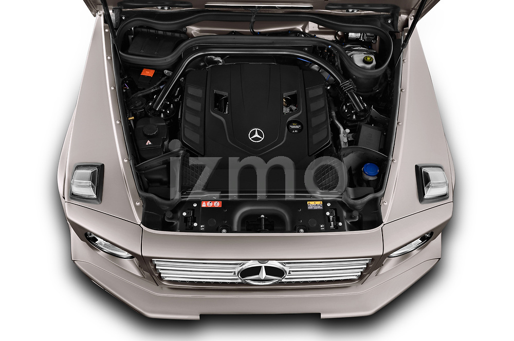 Car Stock 2019 Mercedes Benz G-Class Base 5 Door SUV Engine  high angle detail view