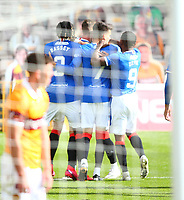 27th September 2020; Fir Park, Motherwell, North Lanarkshire, Scotland; Scottish Premiership Football, Motherwell versus Rangers; Cedric Itten of Rangers celebrates as he makes it 5-0 in the 80th minute of the match