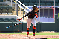 FCL Orioles Orange first baseman Moises Ramirez (27) hits a home run during a game against the FCL Braves on July 22, 2021 at the CoolToday Park in North Port, Florida.  (Mike Janes/Four Seam Images)