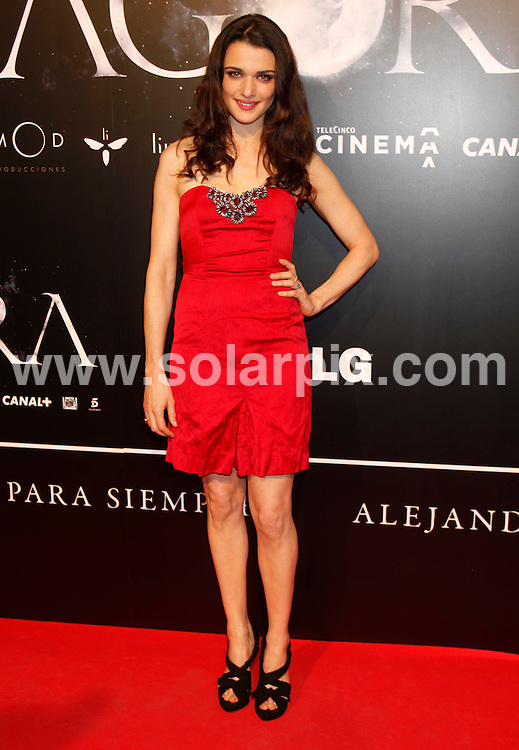 """**ALL-ROUND PICTURES FROM SOLARPIX.COM**.**WORLD SYNDICATION RIGHTS EXCEPT BELGIUM, GERMANY, HOLLAND, SCANDINAVIA, SOUTH AMERICA, SPAIN, & USA**.Arrivals at the spanish premiere for the film """"Agora"""", with actors and the director, Madrid, Spain. 6 October 2009..This pic: Rachel Weisz..JOB REF: 10076 SKX      DATE: 06_10_2009.**MUST CREDIT SOLARPIX.COM OR DOUBLE FEE WILL BE CHARGED**.**MUST NOTIFY SOLARPIX OF ONLINE USAGE**.**CALL US ON: +34 952 811 768 or LOW RATE FROM UK 0844 617 7637**"""