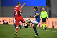 Kamil Grosicki of Poland and Alessandro Florenzi of Italy compete for the ball during the Uefa Nation League Group Stage A1 football match between Italy and Poland at Citta del Tricolore Stadium in Reggio Emilia (Italy), November, 15, 2020. Photo Andrea Staccioli / Insidefoto