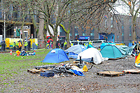 A general view during a protest against the building of the HS2 railway line at Euston Square Gardens on 27th January 2021