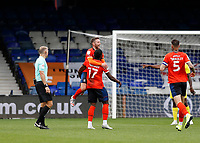 3rd October 2020; Kenilworth Road, Luton, Bedfordshire, England; English Football League Championship Football, Luton Town versus Wycombe Wanderers; Pelly Ruddock of Luton Town celebrates with Jordan Clark of Luton Town after scoring his sides 1st goal in the 58th minute to make it 1-0