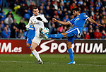 Real Madrid CF's Gareth Bale and Getafe CF's Leandro Cabrera  competes for the ball during the Spanish La Liga match round 19 between Getafe CF and Real Madrid at Santiago Bernabeu Stadium in Madrid, Spain during La Liga match. Jan 04, 2020. (ALTERPHOTOS/Manu R.B.)