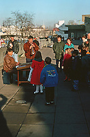London:  Thameside Walk #3.  Musicians in front of Royal Festival Hall.   Photo '90.