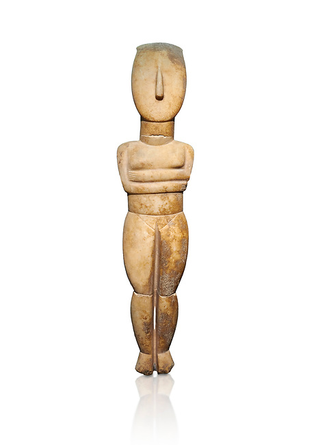 Female Cycladic Canonical type, Spedos variety female figurine statuette. Early Cycladic Period II from Syros phase (2800-2300 BC). Museum of Cycladic Art Athens, cat no 282.  Against white.