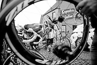 Stijn Devolder (BEL/Trek Factory Racing) is screaming out the pain from a crash, but will continu to ride (and even show himself prominently)<br /> <br /> Dwars Door Vlaanderen 2014
