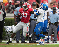 Athens, Georgia - September 15, 2018: Sanford Stadium University of Georgia Bulldogs vs Middle Tennessee State University Blue Raiders. Final score University of Georgia 49, Middle Tennessee 7.