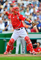 25 September 2011: Washington Nationals catcher Wilson Ramos in action against the Atlanta Braves at Nationals Park in Washington, DC. The Nationals shut out the Braves 3-0 to take the rubber match third game of their 3-game series - the Nationals' final home game for the 2011 season. Mandatory Credit: Ed Wolfstein Photo