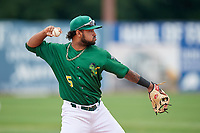 Beloit Snappers third baseman Jesus Lopez (5) throws to first base during a game against the Dayton Dragons on July 22, 2018 at Pohlman Field in Beloit, Wisconsin.  Dayton defeated Beloit 2-1.  (Mike Janes/Four Seam Images)