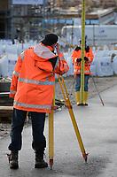 Vermessungsarbeiten: EUROPA, DEUTSCHLAND, HAMBURG, (EUROPE, GERMANY), 07.02.2016:Vermessungsarbeiten