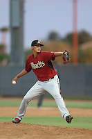 Luis Castillo #12 of the AZL Diamondbacks pitches against the AZL Padres at the Peoria Sports Complex on July 7, 2014 in Peoria, Arizona. AZL Padres defeated the AZL Diamondbacks, 9-4. (Larry Goren/Four Seam Images)
