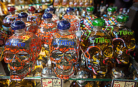 Varieties of Tequila for Sale, Tequila Museum, Playa del Carmen, Riviera Maya, Yucatan, Mexico.