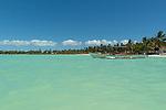 The pristine aqua waters of the lagoon on the island of Kiritimati, Kiribati