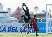 Bradenton, FL - Sunday, June 12, 2018: Angelina Anderson, Nayeli Diaz during a U-17 Women's Championship Finals match between USA and Mexico at IMG Academy.  USA defeated Mexico 3-2 to win the championship.
