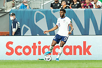 DENVER, CO - JUNE 6: Mark McKenzie #15 of the United States passes the ball during a game between Mexico and USMNT at Mile High on June 6, 2021 in Denver, Colorado.