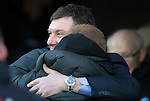 St Johnstone v Celtic.....26.12.13   SPFL<br /> Tommy Wright greets Neil Lennon with a hug before kick off<br /> Picture by Graeme Hart.<br /> Copyright Perthshire Picture Agency<br /> Tel: 01738 623350  Mobile: 07990 594431
