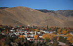 C Hill is seen from a hot air balloon above Carson City, Nev., on Saturday, Oct. 26, 2013, as part of the annual Nevada Day celebration.<br /> Photo by Cathleen Allison