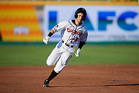 Lansing Lugnuts Rafael Lantigua (9) running the bases during a Midwest League game against the Burlington Bees on July 18, 2019 at Cooley Law School Stadium in Lansing, Michigan.  Lansing defeated Burlington 5-4.  (Mike Janes/Four Seam Images)